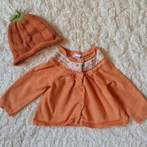 Gymboree Pumpkin Sweater and Hat